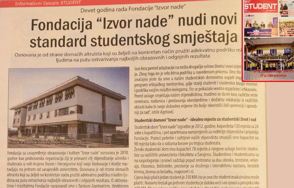 Casopis Student o Fondaciji Izvor nade, maj 2019.