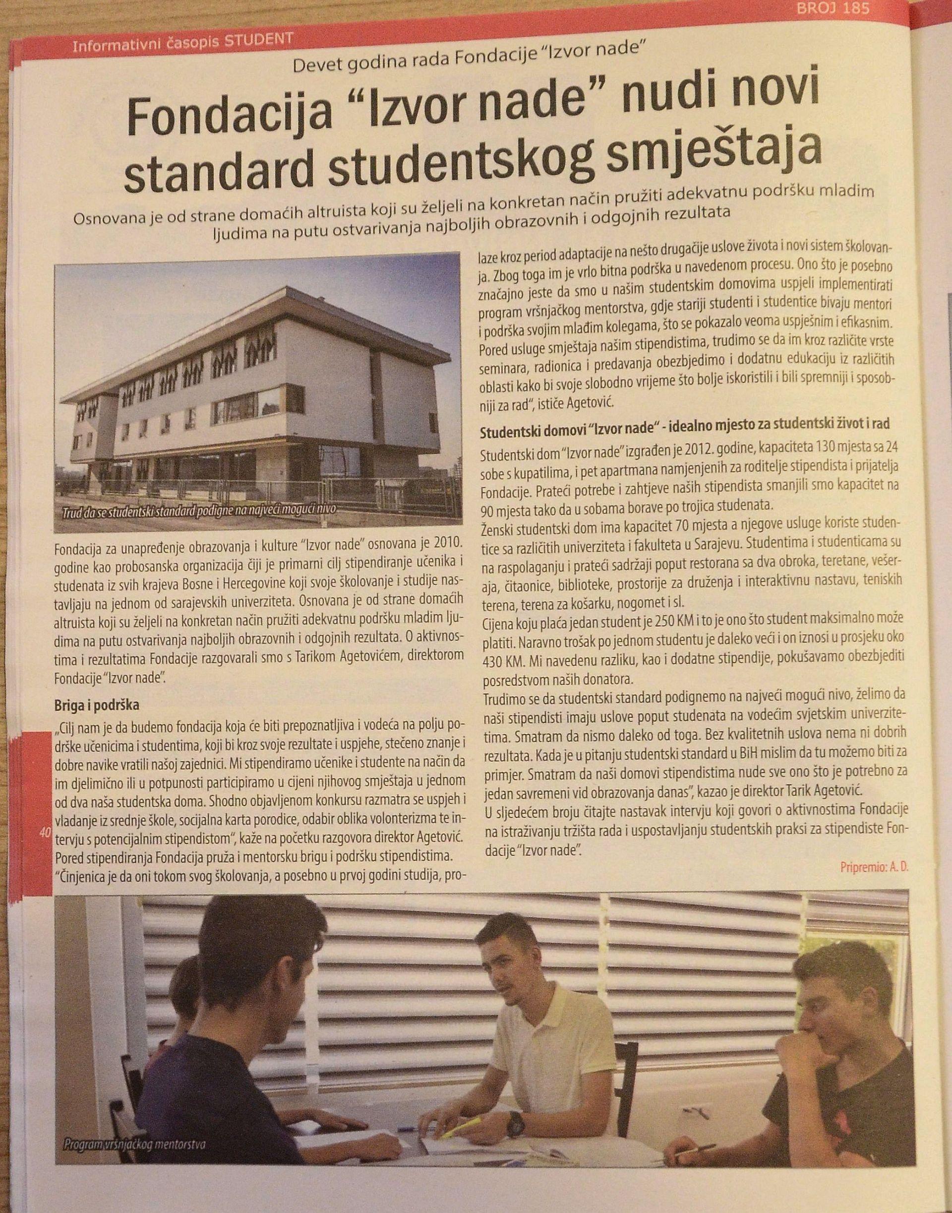 Časopis Student: Fondacija Izvor nade nudi novi standard studentskog smještaja_maj_2019._a