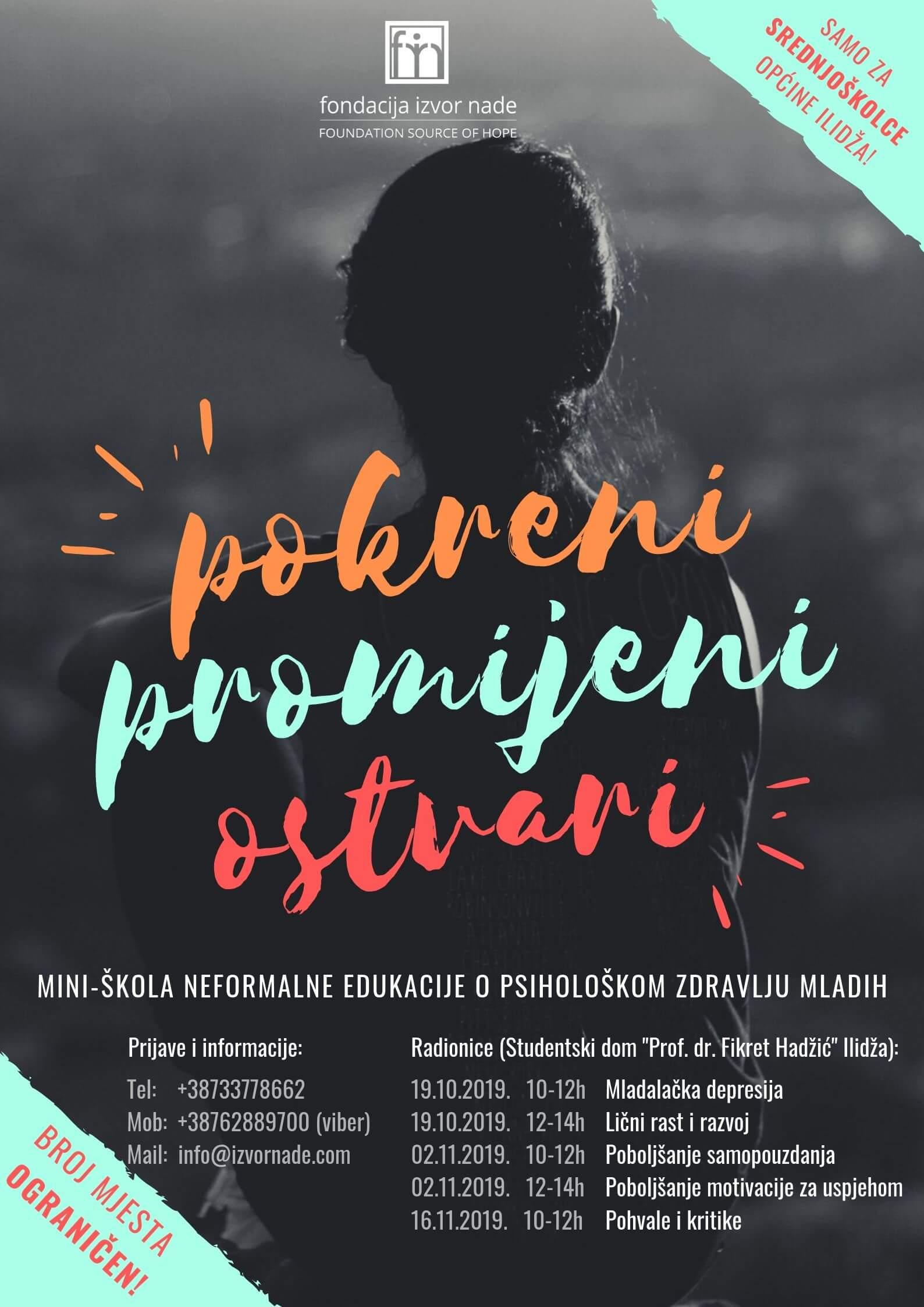 """Mini-škola neformalne edukacije o psihološkom zdravlju mladih """"Pokreni, promijeni, ostvari"""" 2019"""